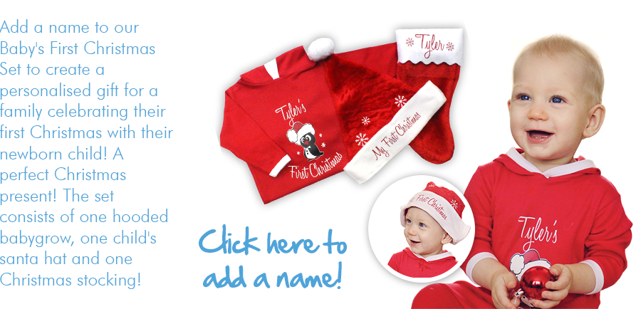 Baby's first christmas set - personalised